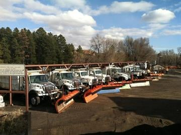 Snow plows in Flagstaff get ready for action. By Andrew Michalscheck