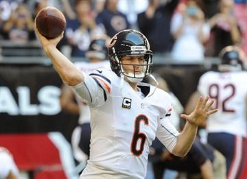 GLENDALE, AZ - DECEMBER 23: Jay Cutler #6 of the Chicago Bears throws a pass during pregame against the Arizona Cardinals at University of Phoenix Stadium on December 23, 2012 in Glendale, Arizona. (Photo by Norm Hall/Getty Images) By Norm Hall