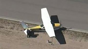 A small plane made a belly landing at the Glendale Municipal Airport. By Jennifer Thomas