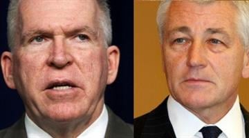 John Brennan (left) and Chuck Hagel (right) By Catherine Holland