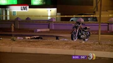 Police said a motorcycle was southbound on Scottsdale Road just south of Earll Drive when it struck the back of a car pulling out of a private drive. By Jennifer Thomas