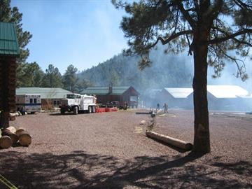 Fire destroyed the main lodge of the historic Greer Lodge Resort & Cabins in the White Mountains in eastern Arizona early Tuesday morning. By Catherine Holland