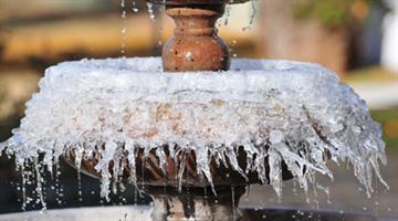 Frozen fountain in Glendale, Ariz. By Mike Gertzman