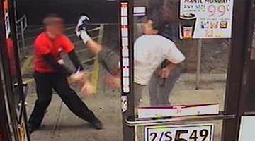 Dramatic photo of beer run suspect kicking Circle K clerk By Jennifer Thomas