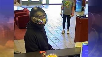 The FBI said a man wearing a motorcycle helmet robbed a Bank of America near Ellsworth and Ocotillo roads in Queen Creek. By Jennifer Thomas