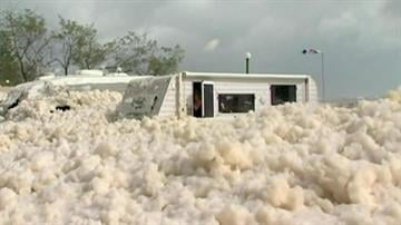 GOLD COAST, Australia -- A stretch of Queensland's Sunshine Coast has been blanketed in sea foam, swept ashore by the remnants of a tropical cyclone that struck Australia last week. By Mike Gertzman