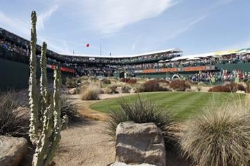 SCOTTSDALE, AZ - FEBRUARY 2: A view of the tee on the 16th hole during the third round of the Waste Management Phoenix Open at TPC Scottsdale on February 2, 2013 in Scottsdale, Arizona. (Photo by Hunter Martin/Getty Images) By Hunter Martin