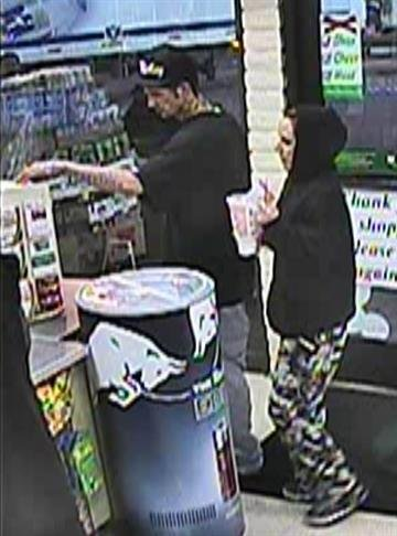 Three days after he was robbed, the victim's credit card was used by a couple. The man and woman who had the card were caught on surveillance video at the store. By Catherine Holland
