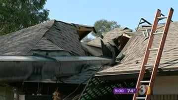 A home in northwest Phoenix was destroyed when a massive crane collapsed and fell through the roof. By Mike Gertzman