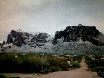 Snow on the Superstition Mountains By Mike Gertzman