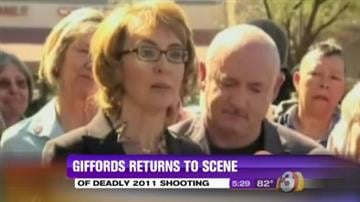 On March 6, former U.S. Rep. Gabrielle Giffords returned to the scene of the Tucson mass shooting. By Mike Gertzman