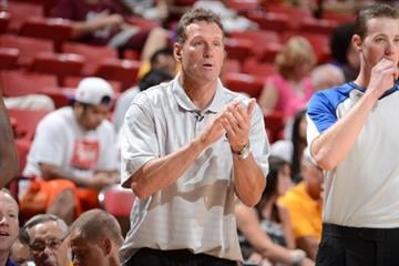 LAS VEGAS, NV - JULY 17: Head Coach Dan Majerle of the Phoenix Suns coaches against the Cleveland Cavaliers during NBA Summer League on July 17, 2012 at the Thomas & Mack Center in Las Vegas, Nevada. By Garrett Ellwood