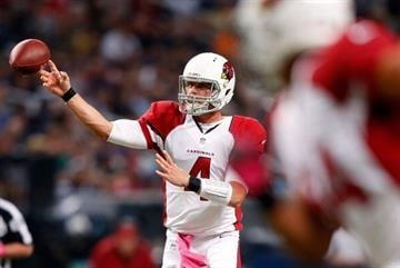 ST LOUIS, MO - OCTOBER 04:  Quarterback  Kevin Kolb #4 of the Arizona Cardinals passes during the game against the St. Louis Rams at Edward Jones Dome on October 4, 2012 in St Louis, Missouri.  (Photo by Jamie Squire/Getty Images) By Jamie Squire