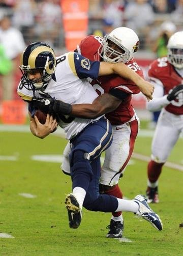 GLENDALE, AZ - NOVEMBER 25:  Sam Bradford #8 of the St Louis Rams is sacked by Daryl Washington #58 of the Arizona Cardinals at University of Phoenix Stadium on November 25, 2012 in Glendale, Arizona.  (Photo by Norm Hall/Getty Images) By Norm Hall