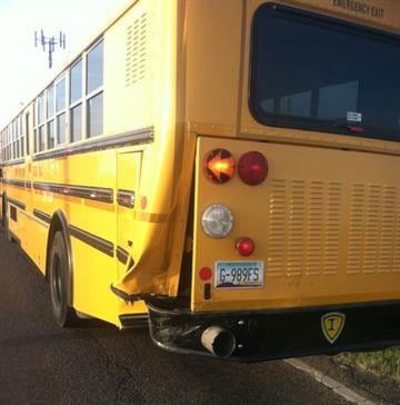 The driver of an SUV ran into the back of a school bus near Quail Run Lane and Bella Vista Road in San Tan Valley. By Jennifer Thomas