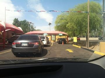 People lined up at the car wash at 14th St. & Missouri in Phoenix By Mike Gertzman