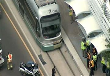 A pedestrian was hit by a light rail train Tuesday morning. By Jennifer Thomas