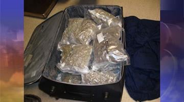 U.S. Border Patrol agents found 21 pounds of marijuana in a suitcase on a Greyhound bus. By Jennifer Thomas