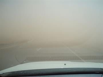 Blowing dust on Interstate 40 Tuesday morning By Jennifer Thomas