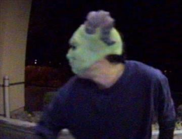 Surveillance footage obtained from the bank showed what appeared to be a male individual with a light complexion and dark hair, wearing dark clothing and what looks like a green demon mask with purple horns. By Jennifer Thomas