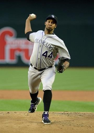 PHOENIX, AZ - APRIL 26:  Juan Nicasio #44 of the Colorado Rockies pitches against the Arizona Diamondbacks in the first inning at Chase Field on April 26, 2013 in Phoenix, Arizona.  (Photo by Jennifer Stewart/Getty Images) By Jennifer Stewart