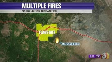 Coconino National Forest personnel responded to 10 fires in the Marshall Lake area on Saturday. By Jennifer Thomas
