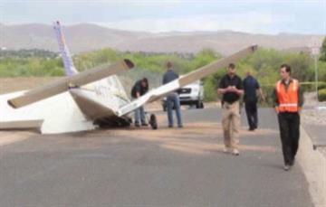 An airplane hit a fence at Cottonwood Municipal Airport Monday night. By Jennifer Thomas