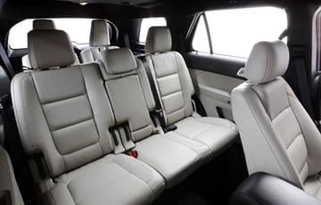 2011 Ford Explorer: Explorer second row seating offers industry-exclusive inflatable rear seatbelts. (07/26/2010) By Ford