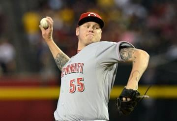PHOENIX, AZ - JUNE 23: Mat Latos #55 of the Cincinnati Reds delivers a pitch against the Arizona Diamondbacks at Chase Field on June 23, 2013 in Phoenix, Arizona. (Photo by Norm Hall/Getty Images) By Norm Hall