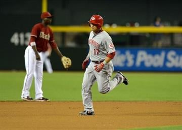 PHOENIX, AZ - JUNE 23:  Shin-Soo Choo #17 of the Cincinnati Reds rounds the bases after hitting a lead off home run against the Arizona Diamondbacks at Chase Field on June 23, 2013 in Phoenix, Arizona.  (Photo by Norm Hall/Getty Images) By Norm Hall