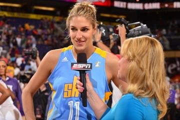 PHOENIX, AZ - MAY 27: Elena Delle Donne #11 of the Chicago Sky talks post game with ESPN on May 27, 2013 at U.S. Airways Center in Phoenix, Arizona. By Barry Gossage