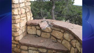 Lightning strike on rock wall of overlook (photo courtesy of Coconino County Sheriff's Office) By Jennifer Thomas