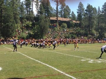 The Sun Devils line up for a play during Saturday's scrimmage. By Brad Denny
