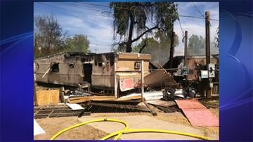 A fire damaged two mobile homes near 17th Avenue and Bell Road in Phoenix Sunday afternoon. (Photo: Alonso Garcia/3TV) By Jennifer Thomas