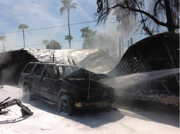 Two mobile homes and at least one vehicle burned near 17th Avenue and Bell Road in Phoenix. By Jennifer Thomas