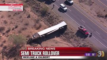 Semitruck rollover on Beeline Highway By Jennifer Thomas