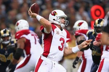 ST. LOUIS, MO - SEPTEMBER 8: Carson Palmer #3 of the Arizona Cardinals passes against the St. Louis Rams at the Edward Jones Dome on September 8, 2013 in St. Louis, Missouri.  (Photo by Dilip Vishwanat/Getty Images) By Dilip Vishwanat