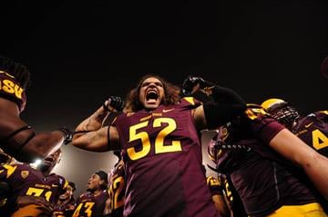 Bradford celebrates the team's 55-0 win over Sacramento State on Sept. 5 By Brad Denny