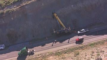 A crane tipped over on northbound Interstate 17 near Bumble Bee. By Jennifer Thomas