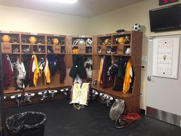 One corner of the new locker room. By Brad Denny