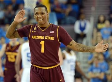 LOS ANGELES, CA - FEBRUARY 27:  Jahii Carson #1 of the Arizona State Sun Devils reacts after a play during the game against the UCLA Bruins at Pauley Pavilion on February 27, 2013 in Los Angeles, California.  (Photo by Harry How/Getty Images) By Harry How