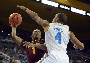 LOS ANGELES, CA - FEBRUARY 27:  Jahii Carson #1 of the Arizona State Sun Devils attempts a shot around Norman Powell #4 of the UCLA Bruins at Pauley Pavilion on February 27, 2013 in Los Angeles, California.  (Photo by Harry How/Getty Images) By Harry How