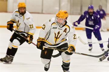 ASU defenseman Jordan Young skates vs. Weber State. By Brad Denny