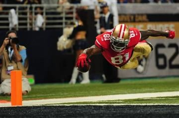 ST. LOUIS, MO - SEPTEMBER 26: Anquan Boldin #81 of the San Francisco 49ers scores a touchdown against the St. Louis Rams at the Edward Jones Dome on September 26, 2013 in St. Louis, Missouri.  (Photo by Michael Thomas/Getty Images) By Michael Thomas