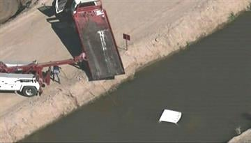 A pickup truck ended up in a canal near Jackrabbit Trail and Southern Avenue in Buckeye. By Jennifer Thomas