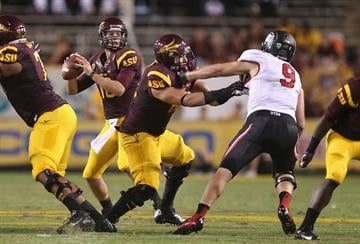 TEMPE, AZ - SEPTEMBER 22:  Quarterback Taylor Kelly drops back to pass against the Utah Utes at Sun Devil Stadium on September 22, 2012 in Tempe, Arizona.  (Photo by Christian Petersen/Getty Images) By Christian Petersen