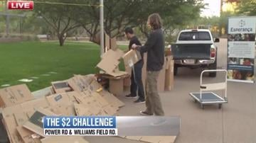 ASU Polytechnic students gathered outside their Student Union to build a cardboard house they will be living in for the next three days as part of the Two Dollar Challenge. By Mike Gertzman