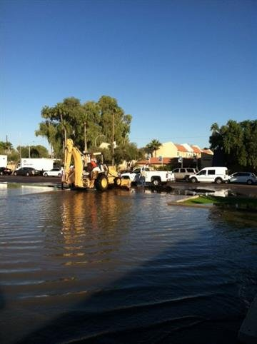 Water main break at Broadway Road and Priest Drive in Tempe By Jennifer Thomas