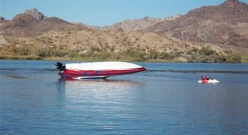 A 26-foot Laveycraft boat rolled multiple times after hitting a sandbar on Lake Havasu. By Jennifer Thomas