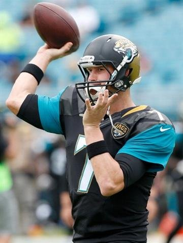 JACKSONVILLE, FL - NOVEMBER 17:   Chad Henne #7 of the Jacksonville Jaguars warms up before the game against the Arizona Cardinals at EverBank Field on November 17, 2013 in Jacksonville, Florida.  (Photo by Sam Greenwood/Getty Images) By Sam Greenwood